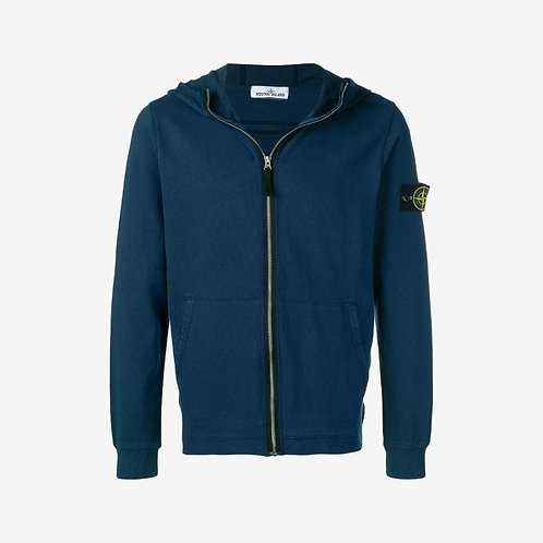 Stone Island 'Old Dye Treatment' Hooded Zip Sweatshirt - Blue