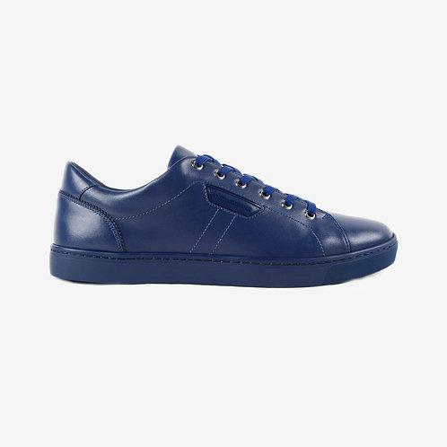 Dolce & Gabbana D&G Calf Leather Designer Sneakers Blue