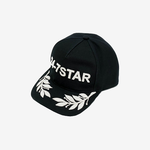 Dsquared2 24-7 Star Embroidered Cap Black and Silver Mens Fashion