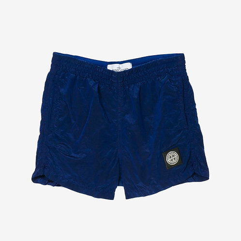 Stone Island Junior Nylon Metal Crinkle Swim Shorts Electric Blue Front