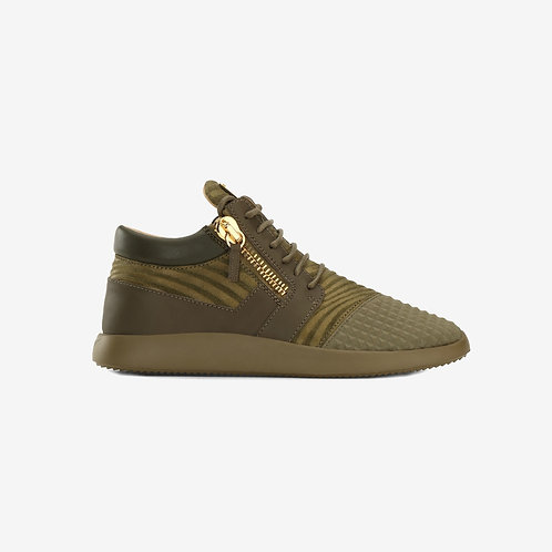 Giuseppe Zanotti Side Zip Sneakers Green Gold Side