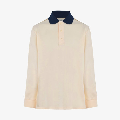 Gucci Kids Interlocking G Long Sleeve Polo Shirt - Beige