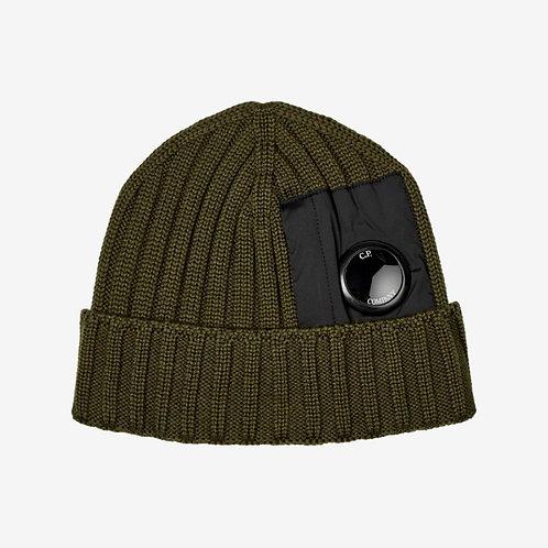C.P. Company Pocket Lens Ribbed Beanie Hat Dusty Olive