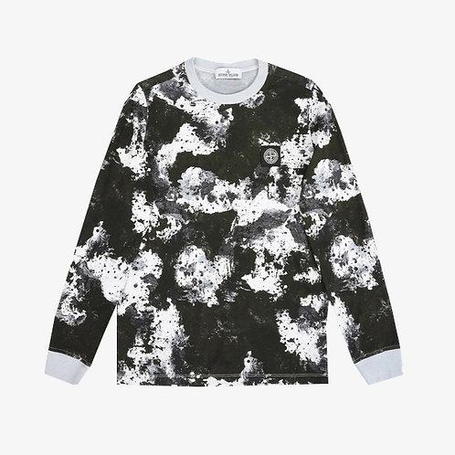 Stone Island Junior Camouflage Long Sleeve T-Shirt - Black