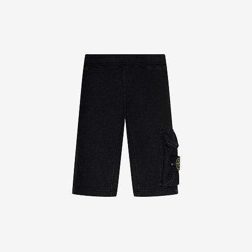 Stone Island 'Old' Dye Treatment Fleece Shorts - Black