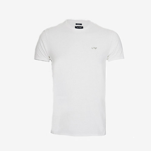 Armani Jeans T-shirt with Grey Logo White Front