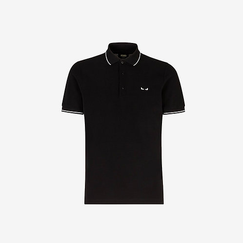 Fendi Embroidered Eyes Polo Shirt - Black with White Details