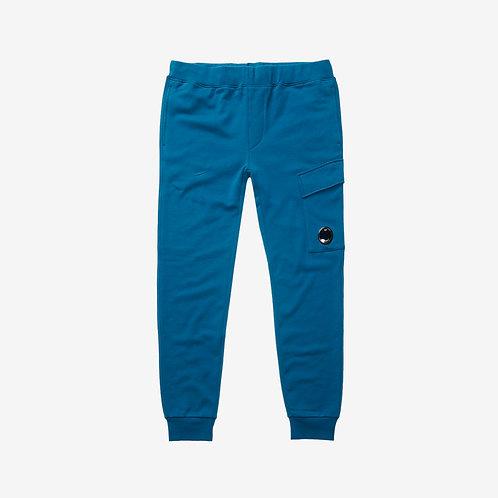 C.P. Company Diagonal Fleece Sweat Pants with Lens - Moroccan Blue
