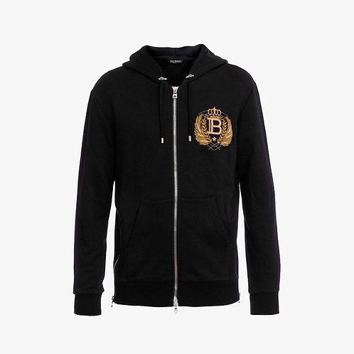 Balmain Paris Hoodie with Embroidered Gold Badge - Black