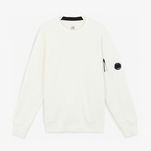 C.P. Company Diagonal Raised Fleece Lens Sweatshirt - White