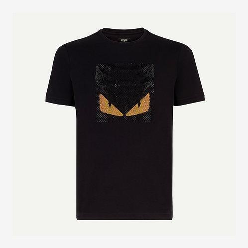 Fendi Crystal Embellished Monster T-shirt Black