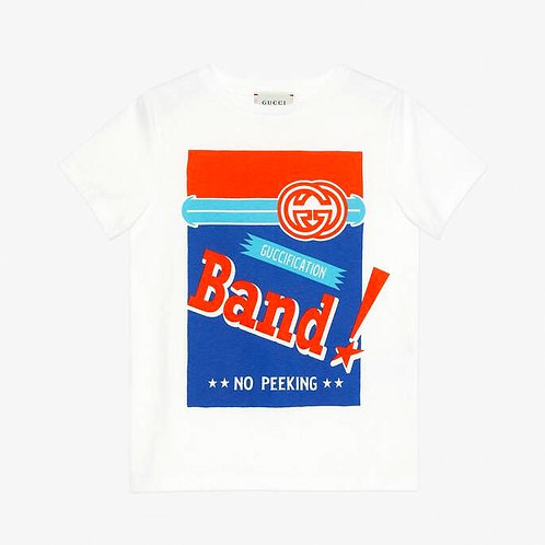 Gucci Kids Band Print T-Shirt - White
