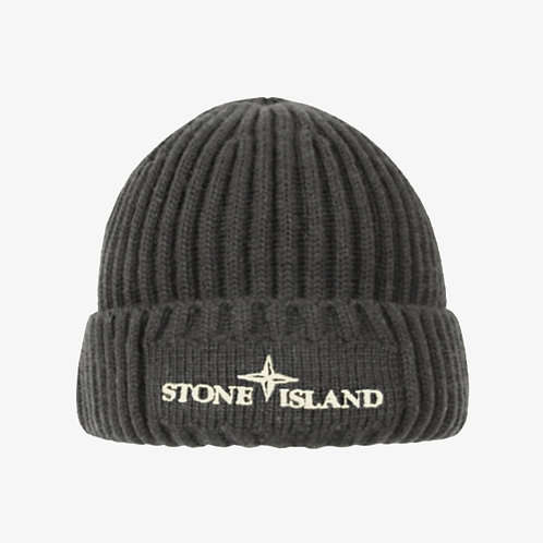Stone Island Junior Embroidered Logo Beanie Hat - Grey