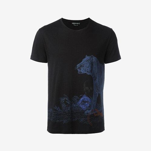 Alexander McQueen Tiger Postcard T-Shirt Black Front