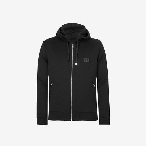 Dolce & Gabbana D&G Logo Plaque Zip Hooded Sweatshirt- Black