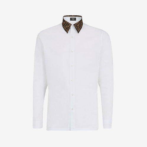Fendi Long-Sleeve Shirt with FF Logo Collar - White and Brown