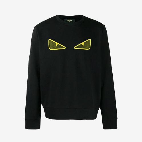 Fendi Mesh Bag Bugs Eyes Sweatshirt - Black and Yellow
