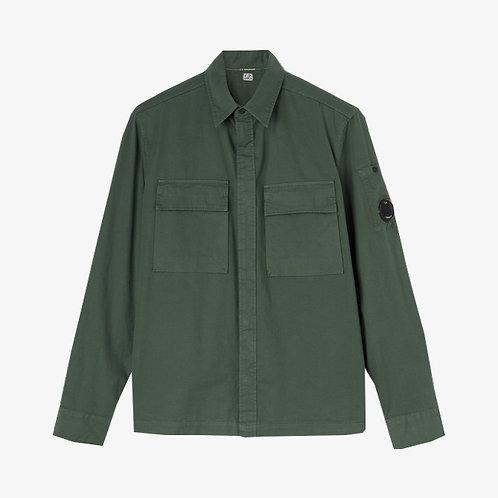 C.P. Company Emerized Gabardine Garment Dyed Lens Shirt - Laurel Wreath Green