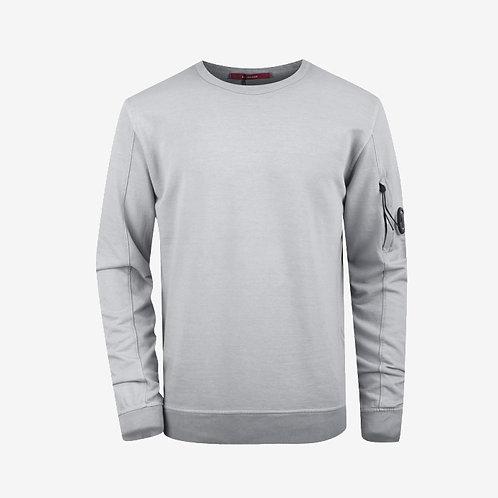 C.P. Company Garment Dyed Light Fleece Lens Sweatshirt - Light Grey