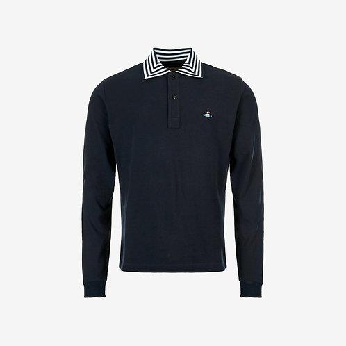 Vivienne Westwood Orb Logo Long Sleeve Polo - Navy