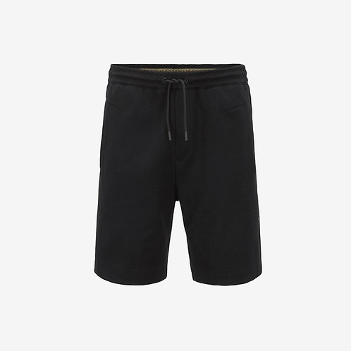 Boss Green Headlo Jogging Shorts with Gold Embroidery - Black