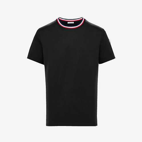 Moncler T-shirt with Contrast Collar - Black