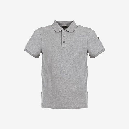 Moncler Polo Shirt with Printed Under-Collar Grey New