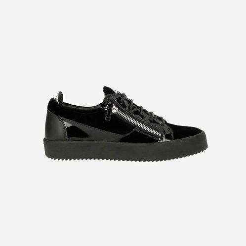 Giuseppe Zanotti Frankie Black Velvet Low Top Sneakers Side