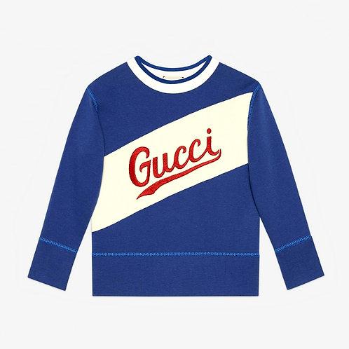 Gucci Kids Script Emroidered Sweatshirt - Blue