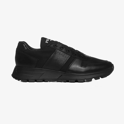 Prada Fabric and Brushed Leather Sneakers - Black