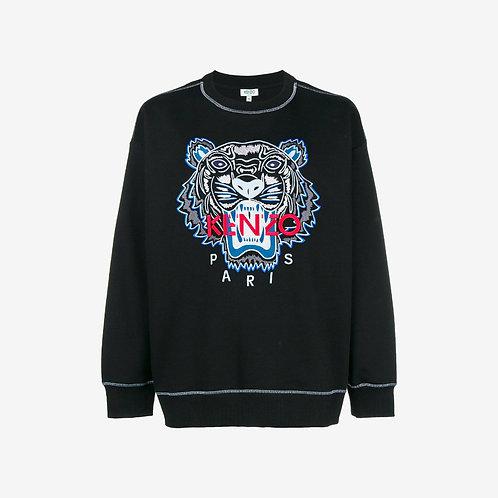 Kenzo Embroidered Tiger Sweatshirt with Stitching - Black