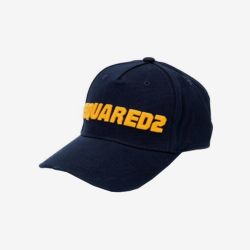 Dsquared2 Bold Embroidered Logo Baseball Cap - Navy and Yellow