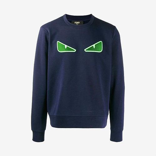 Fendi Mesh Bag Bugs Eyes Sweatshirt - Navy and Green