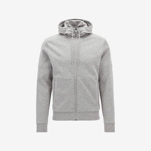 Boss Green Saggy Zip-Hoodie Light Grey Mens Fashion
