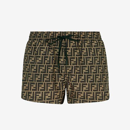 Fendi FF Signature Swim Shorts - Brown