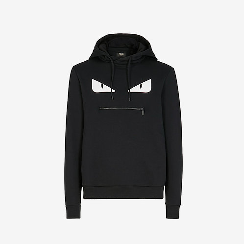 Fendi Bag Bugs Eyes Hooded Sweatshirt - Black and White