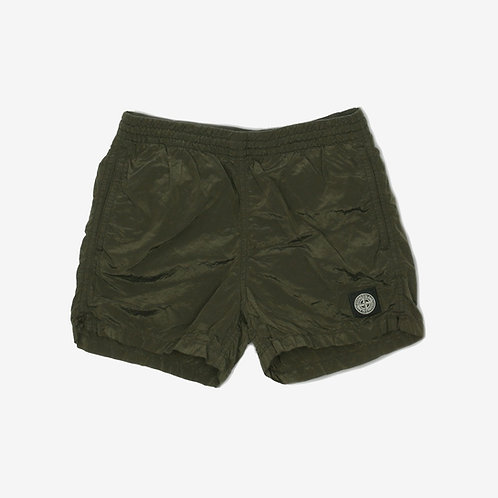 Stone Island Junior Nylon Metal Crinkle Swim Shorts Olive Green Front