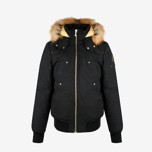 Moose Knuckles 'Little Rapids' Bomber Jacket - Black with Gold Fox Fur