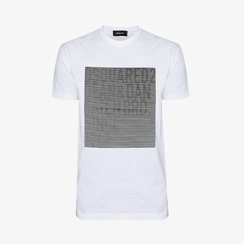 Dsquared2 Logo Striped Square T-Shirt - White