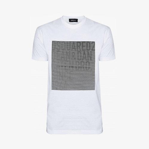 Dsquared2 Logo Striped Square T-Shirt - White