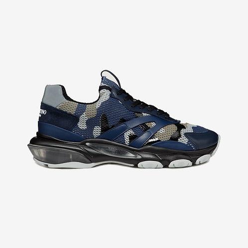 Valentino Camouflage Metallic Bounce Sneakers - Dark Blue