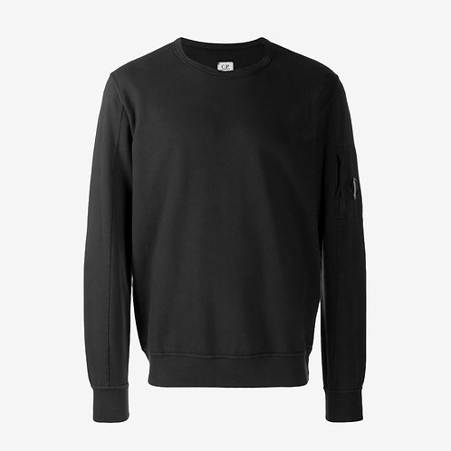 C.P. Company Garment Dyed Light Fleece Lens Sweatshirt Black