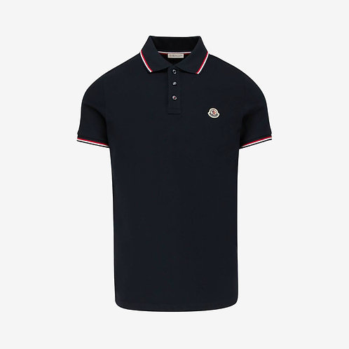 Moncler Polo Shirt with Contrast Trim - Navy