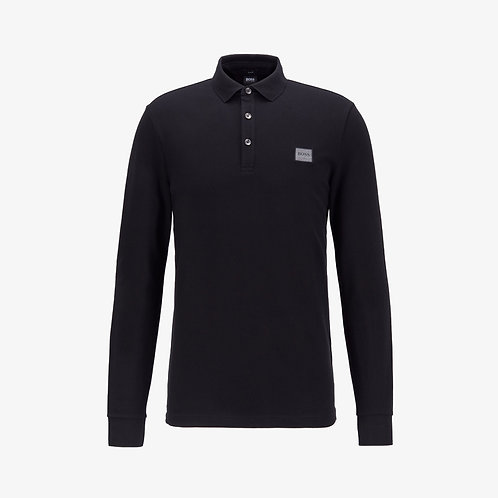 Boss 'Passerby' Slim-Fit Long Sleeve Polo - Black