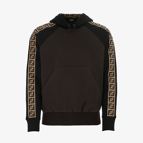 Fendi FF Logo Strip Hoodie - Brown