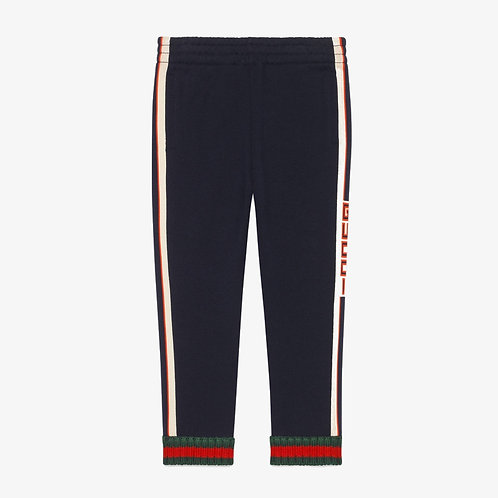 Gucci Kids Trousers with Jacquard Trim - Navy