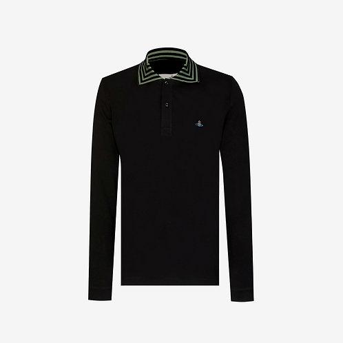 Vivienne Westwood Orb Logo Long Sleeve Polo - Black