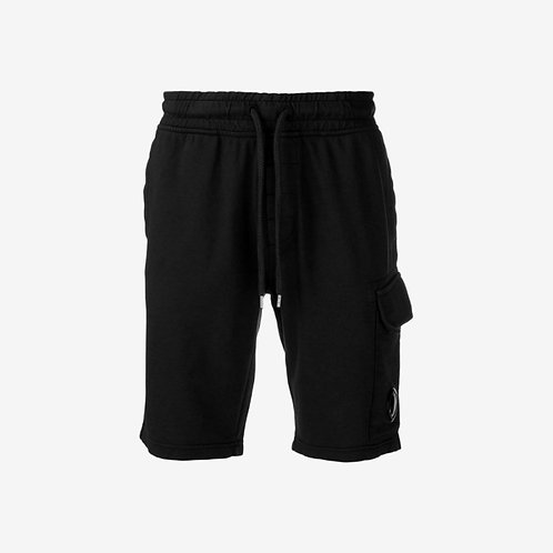 C.P. Company Light Fleece Sweat Shorts with Lens - Black