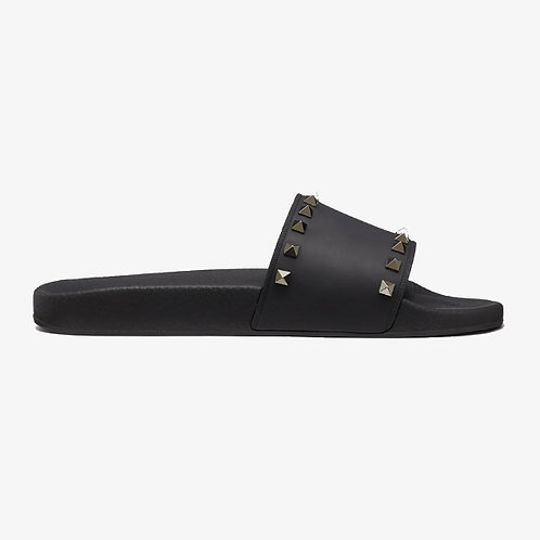 Valentino Rockstud Rubber Slider Sandal - Black