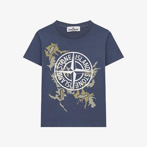 Stone Island Junior Compass Camo T-Shirt - Avio Blue